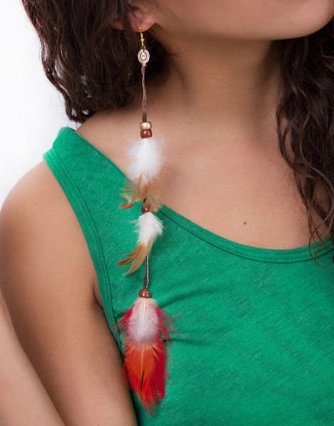 HANDMADE Standing Fist Feather Earring